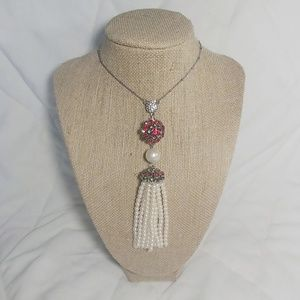 Ann Taylor Faux Ruby & Pearl Necklace